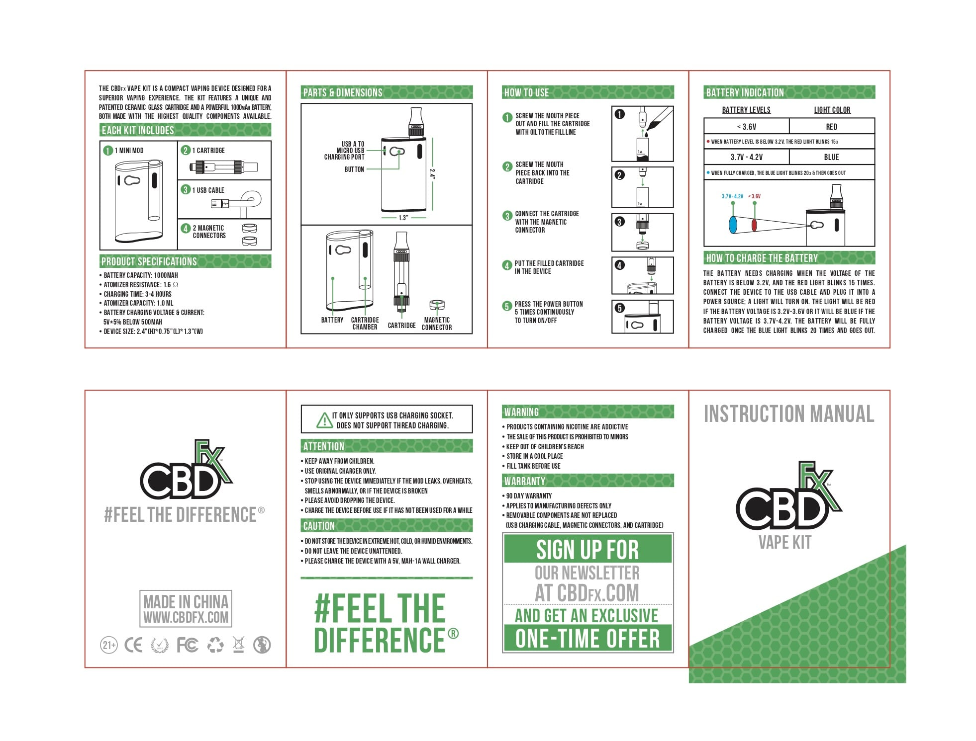 CBDfx Vape Kit Instruction Manual