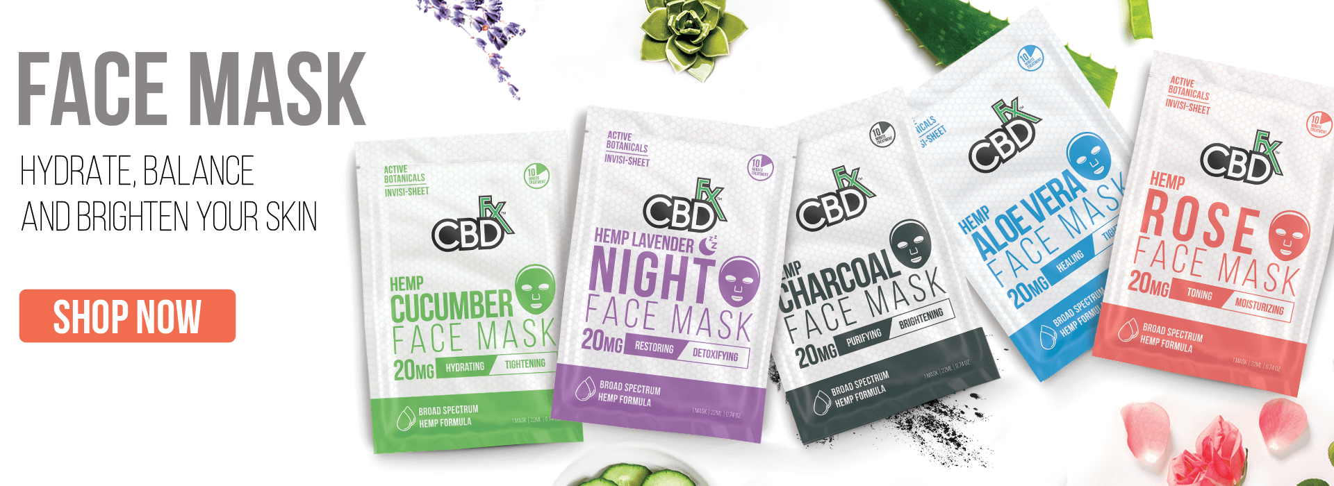 CBDfx CBD Hemp Face Mask Sheet Mask Beauty SkinCare Botanical