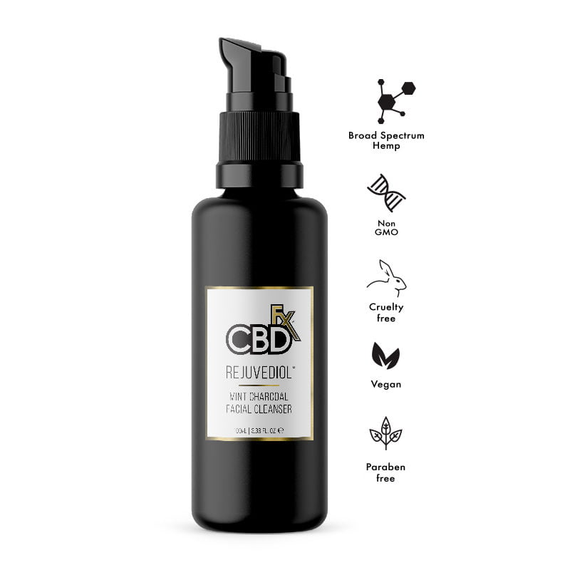 CBDfx CBD Hemp rejuvediol face cleanser mint charcoal broad spectrum help -2