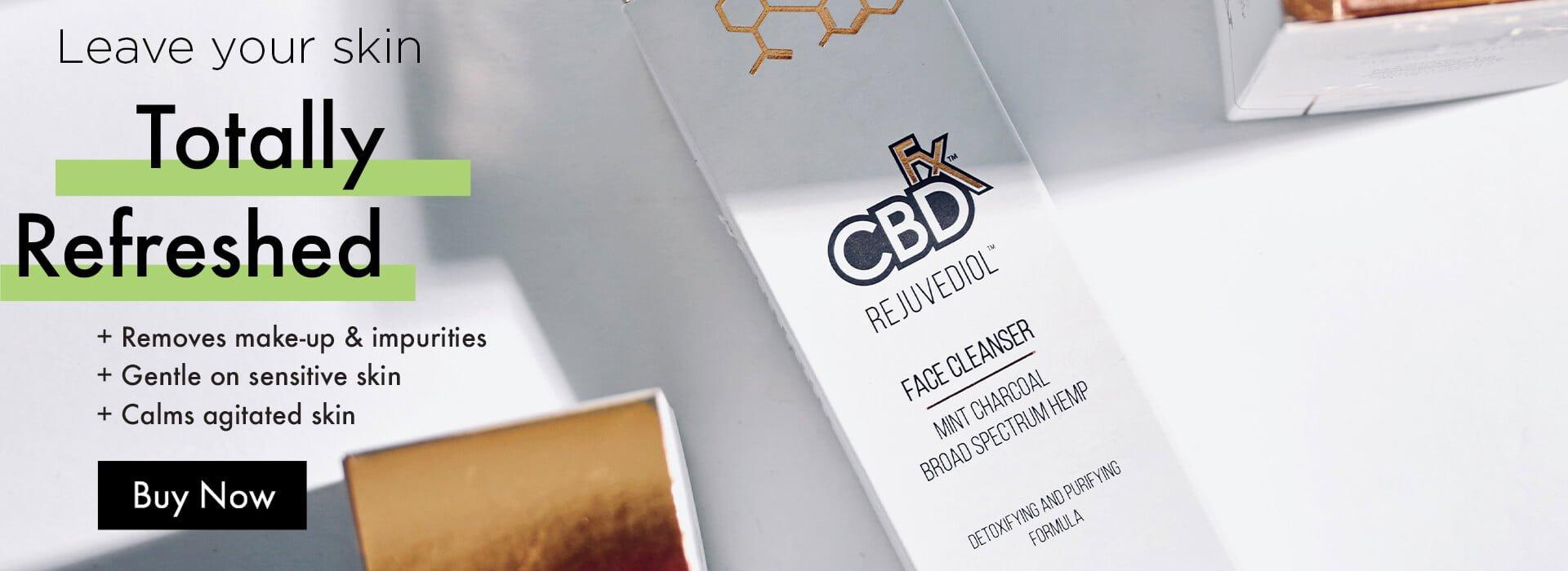 CBDfx CBD hemp face cleanser rejuvediol charcoal mint face beauty skin clean desktop banner