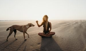A woman with her dog