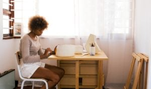 A woman working on something