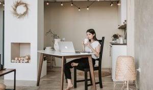 A woman sitting alone